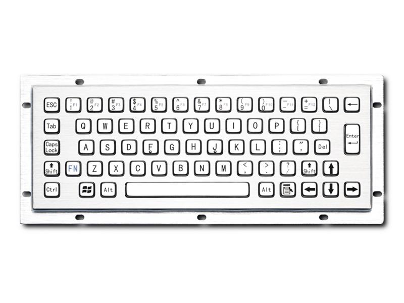 自动化终端机金属PC键盘D-8601防尘防水IP65防暴嵌入式不锈钢工业键盘