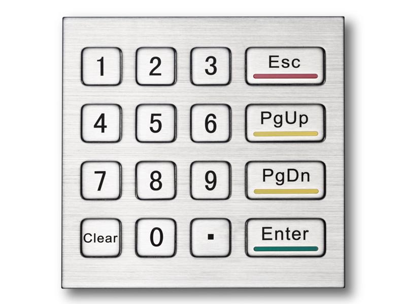 自助售货机售卖机金属键盘16键304不锈钢防尘防水小键盘