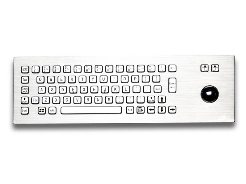 自助终端机金属PC键盘D-8603键盘鼠标一体防尘防水键盘防暴键盘嵌入式不锈钢工业键盘