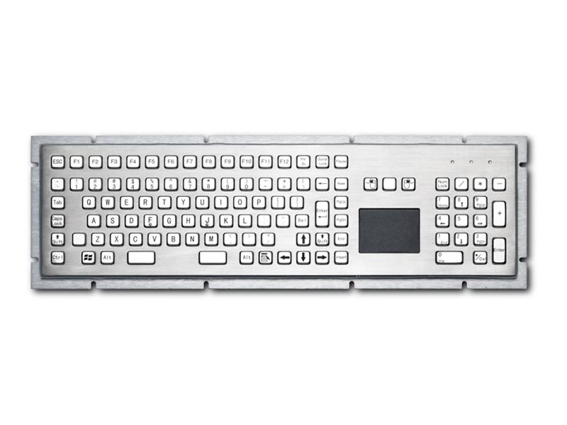 自助终端机金属PC键盘D-8605T键盘鼠标一体防尘防水键盘防暴键盘嵌入式不锈钢工业键盘