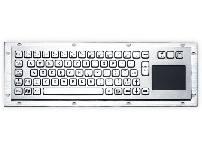 自助申报终端机金属键盘D-8635T键盘鼠标一体嵌入式防尘防水键盘防暴键盘不锈钢工业键盘